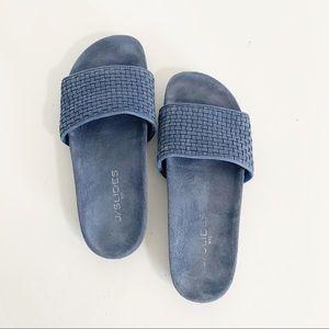 J/Slides blue slip ons